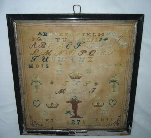 ANTIQUE 1871 DATED HAND STITCHED EMBROIDERY QUEENS CROWN ALPHABET FLORAL SAMPLER