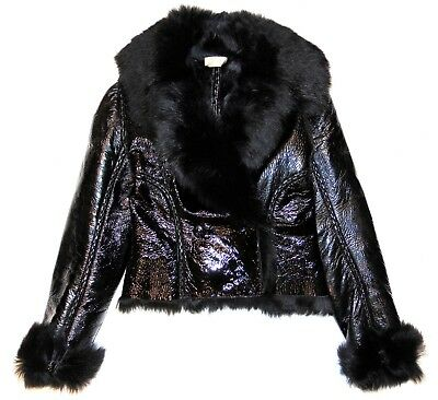 Alaia Black Patent Leather W  Lamb Shearling Fur Seamed Short Jacket Size 40