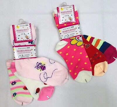 Maria Rosa Little Girl Socks Size L Bees Flowers Ladybugs Colorful ~6 Pairs - Bee Leg Warmers