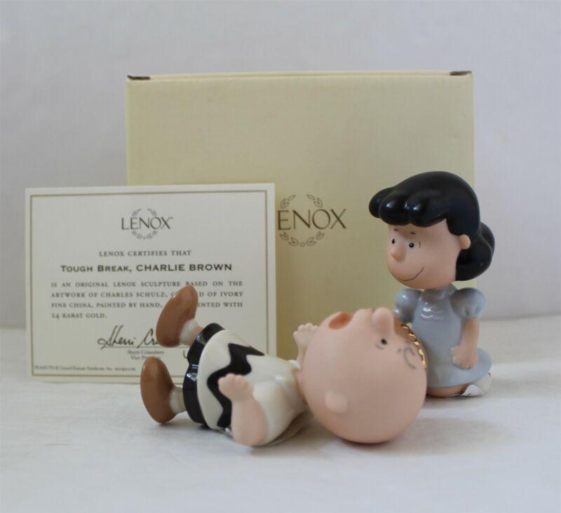 Lenox Tough Break Charlie Brown & Lucy Football Figurine Set New in Box
