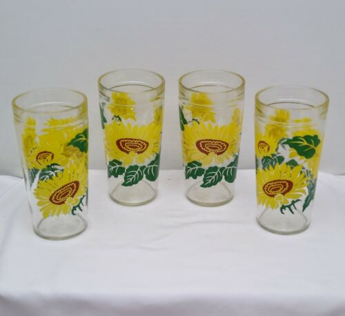 "4 Vintage 6"" Tall Jelly Jar Glass Tumblers Sunflower Design Anchor Hocking"