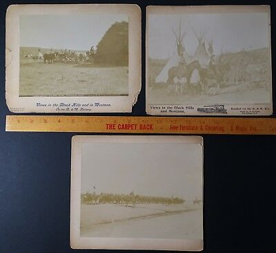 RARE - 4 Orig Photos - W R Cross - Crow Agency Indians 1870s Black Hills Montana