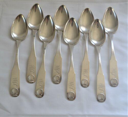Rare Southern Coin Silver Dessert Spoons C.A. Burnett, Virginia 1793-1822