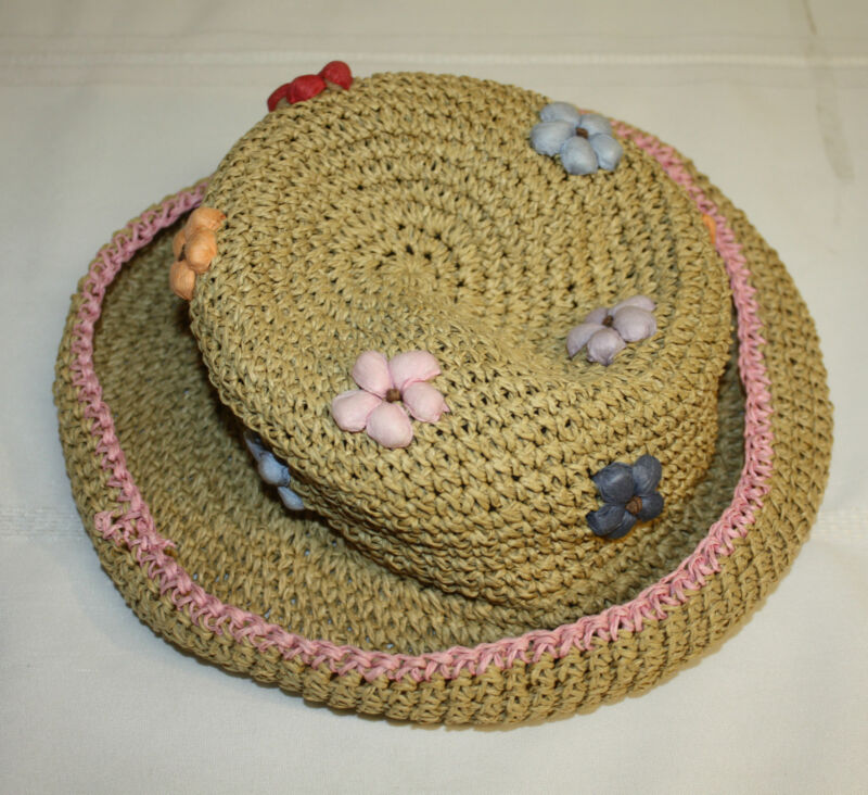 Girls Cornelloki Summer Beach Rolled Brim Straw Hat w/Flowers Size S/M