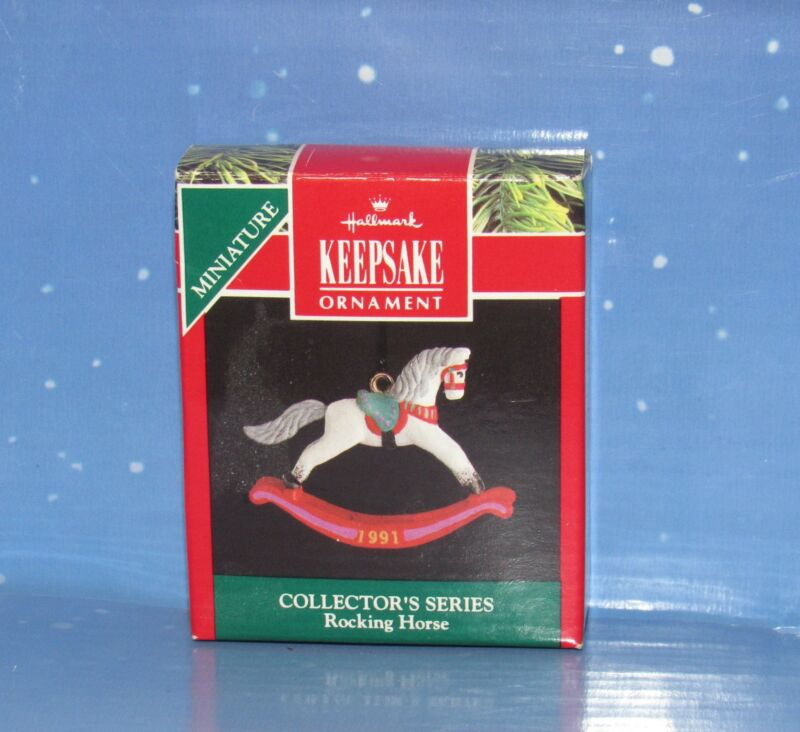 Hallmark 1991 Christmas Miniature Ornament  Rocking Horse 4th in Series
