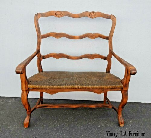 Vintage Pine Wood French Country Rustic Rush Seat Bench Settee