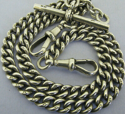 Antique Solid Sterling Silver Double Albert Pocket Watch Chain T-Bar Bir 1919