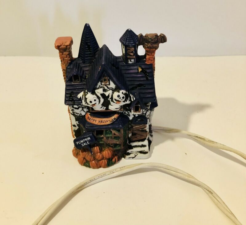 """Lighted Haunted House Halloween Ceramic Decoration Small 4.75""""x3"""""""