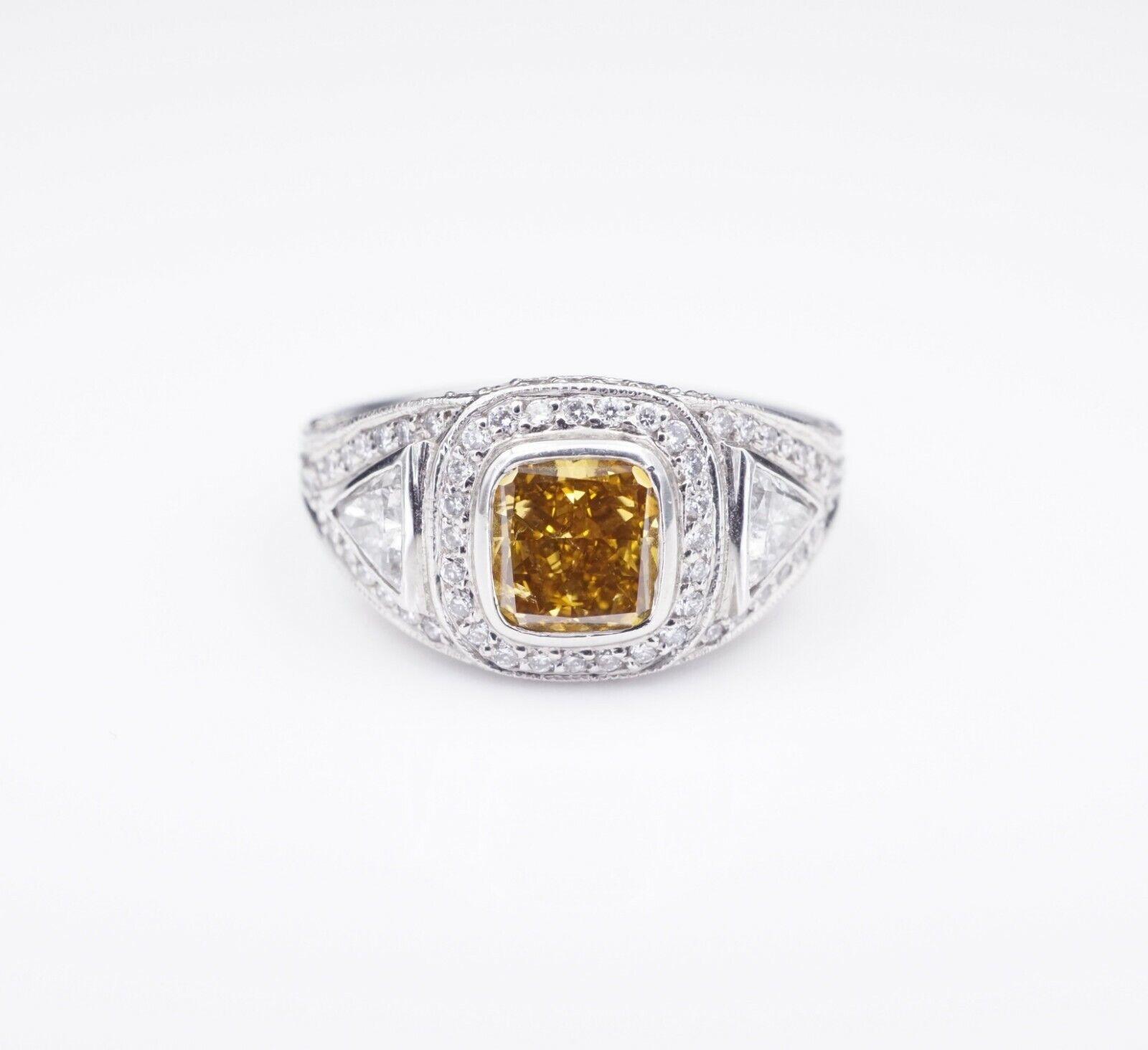 Platinum 3ct Orange-Yellow Diamond Halo Engagement Ring Size 6.75 GIA CO450 1