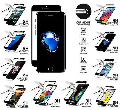 - Black Edged Cell Phone FULL Coverage Screen Tempered Glass Protector Guard
