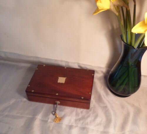 Antique Victorian/Edwardian Solid Mahogany and Brass Box-Working Lock and Key