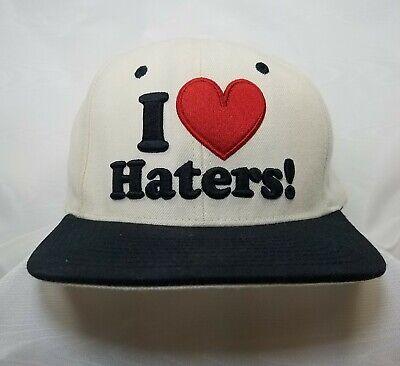 Kayo Flat Brim I Love Haters DGK Motivation Snapback Hat RARE WHITE~ NEW NO TAGS