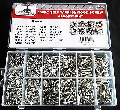 550pc Goliath Industrial Self Tapping Wood Screw Assortment Stws550 Drilling