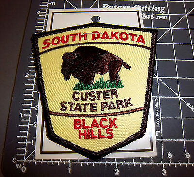 Custer State Park Black Hills South Dakota embroidered iron on patch, Bison logo