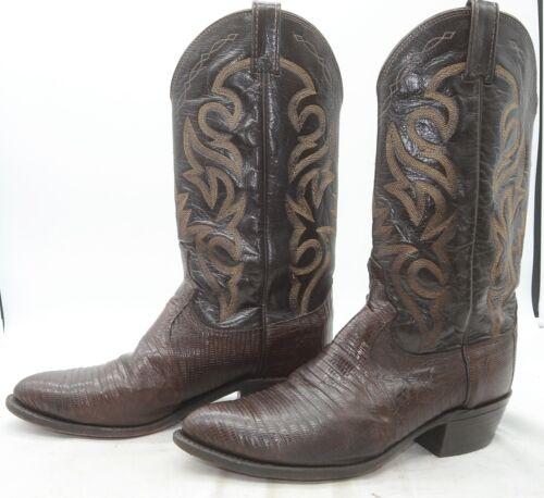 Dan, Post, Mens, Sz, 9, Exotic, Lizard, Skin, Brown, Leather, Western, Cowboy, Riding, Boots
