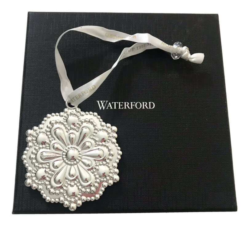 Waterford SILVER SNOWFLAKE Ornament Silver Plated w Satin Hanger & Waterford Box