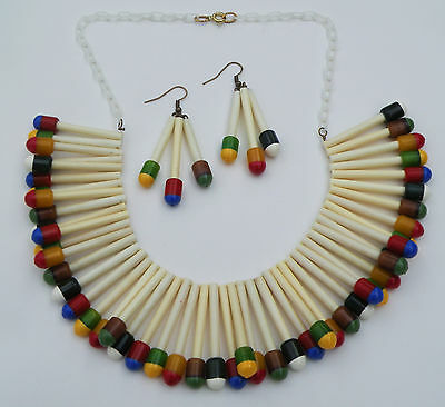 Martha sleeper style vintage bakelite/ plastic matchstick necklace and earrings