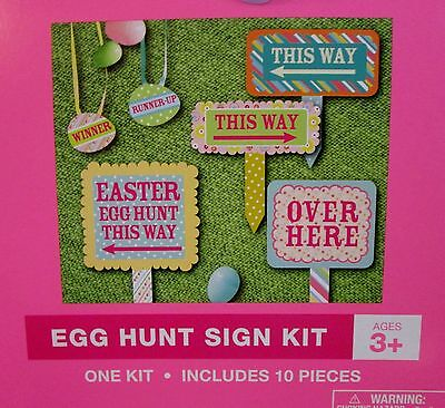 NEW Happy Easter Egg Hunt hunting Sign Kit Path Signs 10 Pc Kids outdoor Party ](Halloween Egg Hunt)