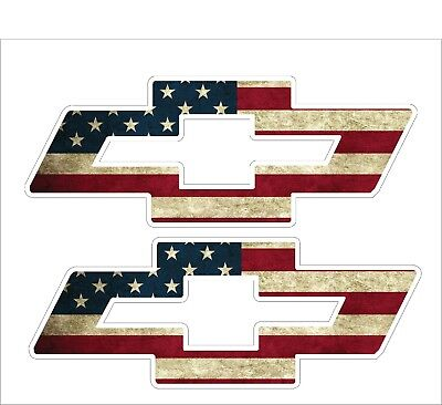 """Pair (2) Chevy Bow Tie LOGO With American Flag Superimposed Decal 9"""" x 24"""""""