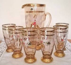 Vintage Retro Jug & Six Glasses Set Golden Grove Tea Tree Gully Area Preview