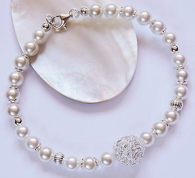 Perlen MK weiß Armband Silber 925 Armkette mit Karabiner Hochzeit Brautschmuck
