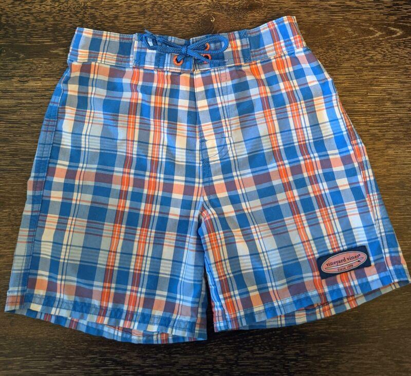 Vineyard Vines Blue Multicolor Plaid Flat Front Board Shorts, Size 7 Boys