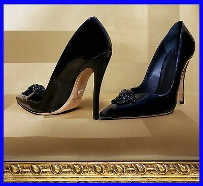 VERSACE PALAZZO BLACK PATENT LEATHER  PUMP SHOES 39 - 9