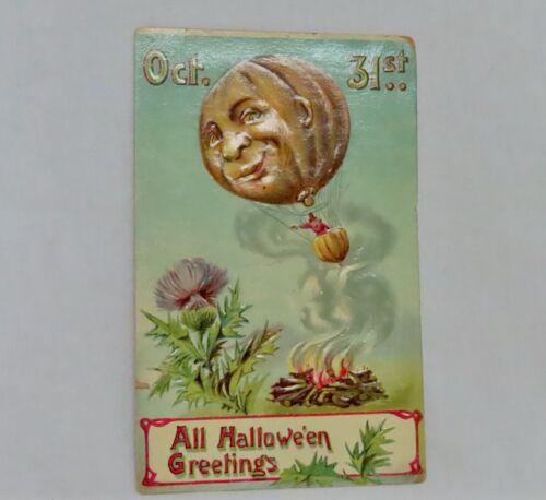 Vintage #914 Halloween Postcard Hot Air Balloon - 80924