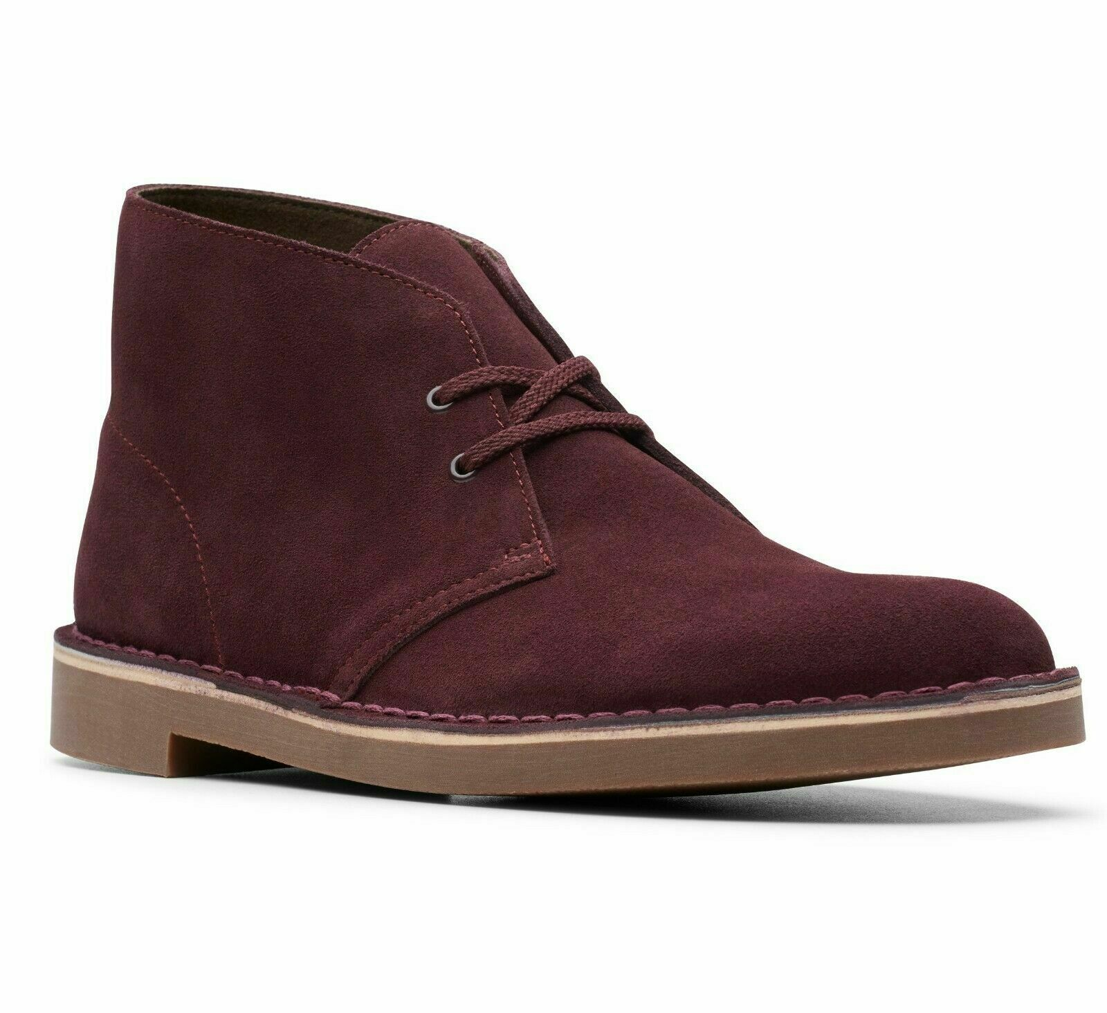 Clarks Men's Bushacre 2 Wine Suede Classic Desert Style Boot