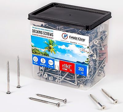 Stainless Steel Deck Screws 10 X 3 Star Drive T25 Torx Qty 350 - 5lb