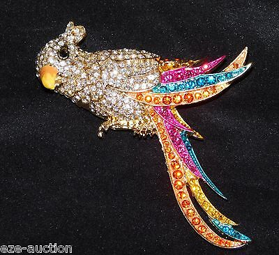 GOLD W. MULTI COLOR RHINESTONE CRYSTAL PARROT BROOCH PIN COMES IN GIFT BOX