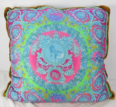 Mint Very Large Donatella VERSACE 100% Silk Decorative Throw Pillow 2 90cm