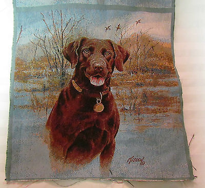 Chocolate Lab Labrador Retriever Dog Tapestry Fabric Pillow top 2 Panel Squares ()