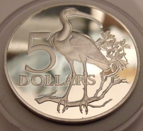 TOP SHELF SILVER PROOF 1976 TRINIDAD FIVE DOLLAR SCARLET IBIS COIN w Holder.