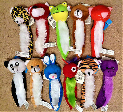 "GREENBRIAR Pet Dog Flat Plush 8"" Squeaky Toys Lot of 4 - RANDOM COMBINATIONS -"