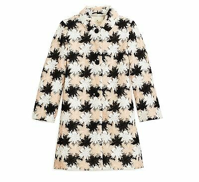 Kate Spade New York Tiger Lily Lace Floral Applique Coat Pink black White 10 NWT