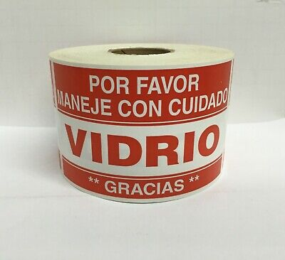 Spanish Fragile Vidrio Glass Careful Warning Stickers 2x3100 Labels