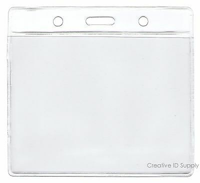 10 Clear Vinyl Badge Holder Id Card - Pick Ur Own Size