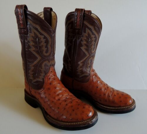 Ariat, Mens, Full, Quill, Ostrich, Leather, Cowboy, Boots, Round, Toe, Mens, 6B, Western, Vtg