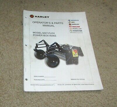 Harley Model Mx7-flex Power Box Rake Operator Parts Manual
