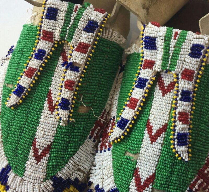 Lakota Sioux Moccasins Antique Native American Beaded Deer Hide Hard Soles 1910