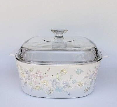 Corning Ware Pastel Bouquet 5 Lt. Casserole /Dutch Oven with Lid  A-5-B