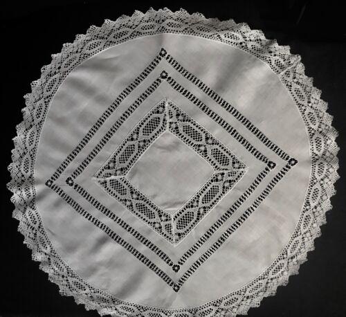 "Antiques Drown-work & Lace Decorated Round Linen Doily Centerpiece 23"" Dia"