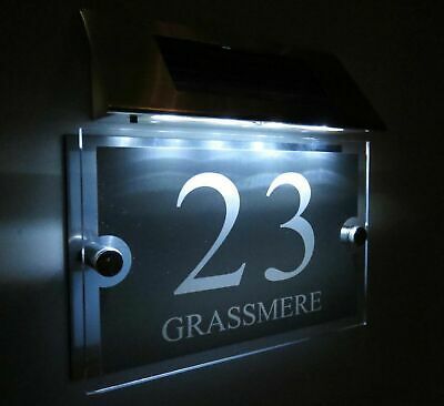 MODERN SOLAR LIGHT LED House Signs Plaques Door Numbers 1 - 9999 street Name House Door Signs