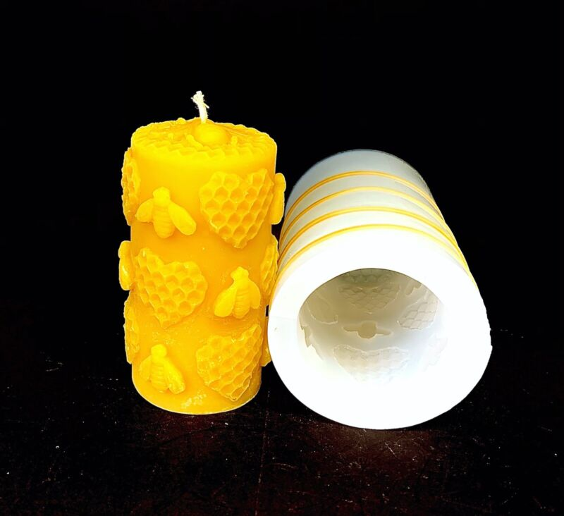 Silicone Honeybee Pillar Candle Mold Honeycomb Mould Homemade