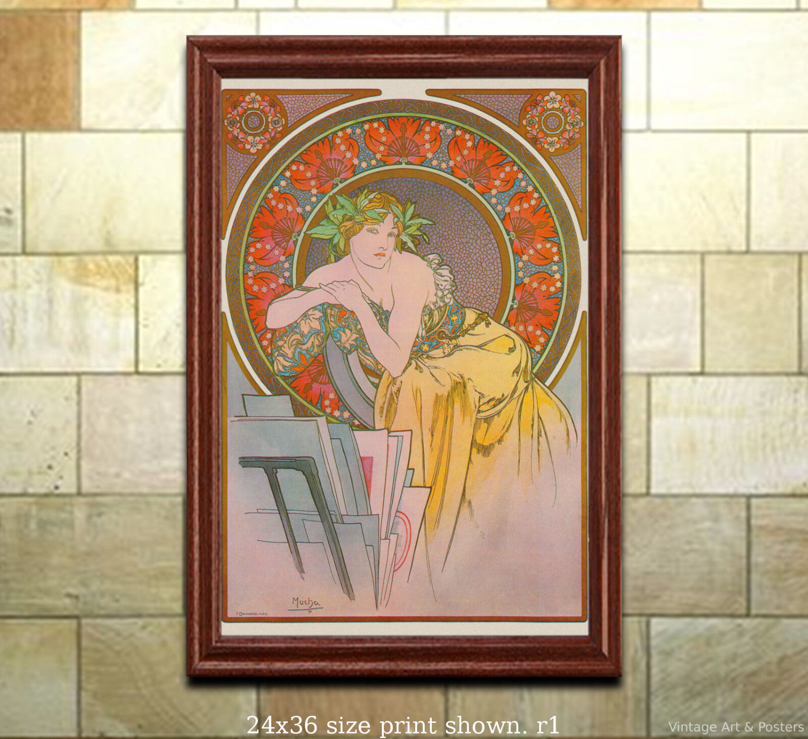 Art Nouveau Print A. Mucha Girl with Easel 1898