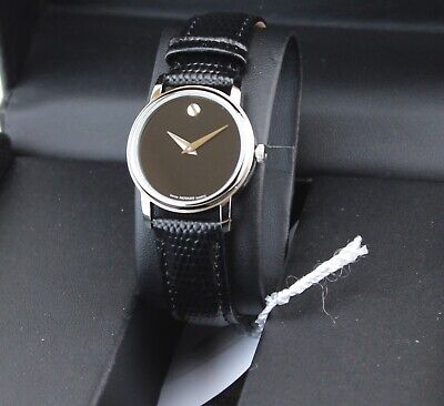 NEW AUTHENTIC MOVADO BOLD CLASSIC MUSEUM SILVER BLACK WOMENS 2100004 WATCH