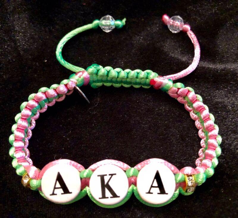 Divine Nine Inspired Aka Shamballa Styled Classic Bracelet-Pink And Green