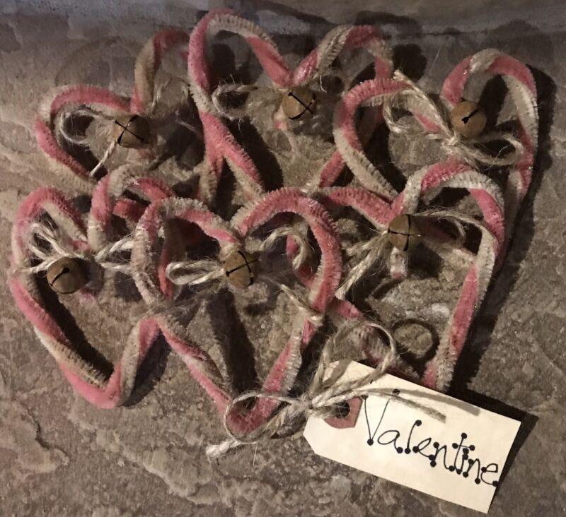 One-Half Dozen Pink & White Twisted Chenille *Valentine* Hearts