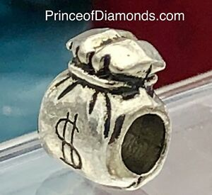 Silver coloured money bag $ bead fits pandora bracelet